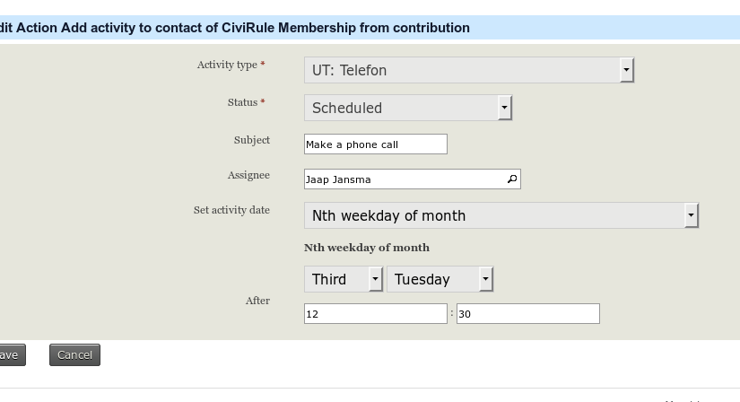 Use the delay mechanism to set the activity date in CiviRules